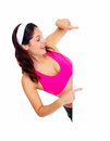 Young beautiful fitness woman with banner isolated on white background Royalty Free Stock Photos