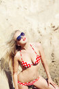 Young beautiful girl in a bathing suit Royalty Free Stock Photos