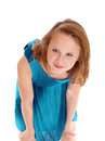 Young beautiful girl bending forwards. Royalty Free Stock Photo