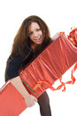 The young beautiful girl with the big gift Stock Image