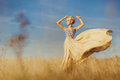 Young beautiful girl at field Royalty Free Stock Photo