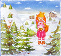 The young beautiful girl fox with cute pink rabbit in forest