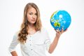 Young beautiful girl holding globe Royalty Free Stock Photo