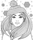 Young beautiful girl with long hair in knitted hat. Tattoo or adult antistress coloring page. Black and white hand drawn doodle fo