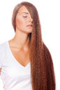 Young beautiful girl with long hair and nude makeu Royalty Free Stock Photo