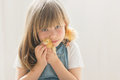 Young beautiful girl, playing with little newborn chick at home Royalty Free Stock Photo