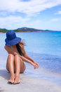Young beautiful girl relaxing at tropical beach woman white sand Stock Photo