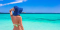 Young beautiful girl relaxing at tropical beach woman white sand Royalty Free Stock Photos