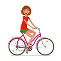 Young beautiful girl riding bicycle. Sport, fitness, active lifestyle symbol. Cartoon vector illustration