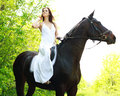 Young beautiful girl riding on horse in the green forest Stock Photos