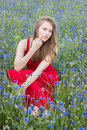 Young beautiful girl sitting in cornflower field, pensive look Royalty Free Stock Photo