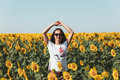 Young Beautiful Girl Standing In Sunflowers And Raising Hands Up. Freedom Lifestyle Journey Concept Royalty Free Stock Photo