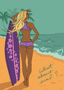 Young beautiful girl with surfboard on the beach illustration of Stock Photo