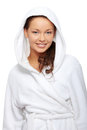 Young beautiful happy woman in bathrobe Royalty Free Stock Image