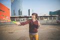 Young beautiful hipster woman bubble blower in the city Stock Photography