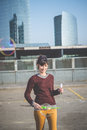 Young beautiful hipster woman bubble blower in the city Stock Photos