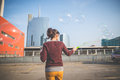 Young beautiful hipster woman bubble blower in the city Royalty Free Stock Photos