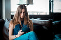 Young beautiful hipster woman in the city Royalty Free Stock Photo