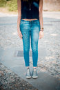 Young beautiful hipster woman in the city Royalty Free Stock Image