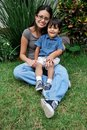 Young, Beautiful Hispanic mother and child Royalty Free Stock Photo
