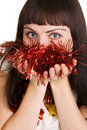 Young beautiful lady with Christmas decorations Stock Photography