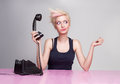 Young beautiful lady does not care the phone Stock Photo
