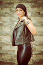 A young and beautiful latina gang woman in leather this image has attached release Royalty Free Stock Photos