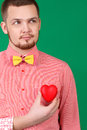 Young beautiful man with heart Royalty Free Stock Photos