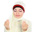 Young beautiful muslim woman in scarf praying Royalty Free Stock Image