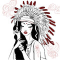 Young beautiful native american woman Royalty Free Stock Photo