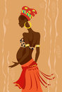 Young beautiful pregnant african woman vector illustration of Stock Photo