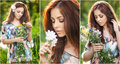 Young beautiful red hair woman holding a wild flowers bouquet in a sunny day. Portrait of attractive long hair female with flowers