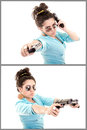 Young beautiful sexy hispanic woman holding handgun in hand this image has attached release Royalty Free Stock Images