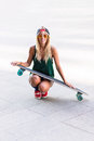 Young beautiful skater woman looking at camera smiling Royalty Free Stock Photo