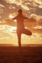 Young beautiful slim woman silhouette practices yoga on the beac beach at sunrise at sunset Stock Images