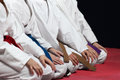 Young, beautiful, successful multi ethical karate kids in karate position. Royalty Free Stock Photo