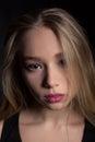 Young Beautiful Teenage girl upset sad and depressed - Stock Image Royalty Free Stock Photo