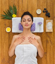 Young beautiful woman in aroma spa wellness center Royalty Free Stock Photo
