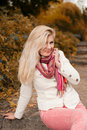 Young beautiful woman in autumn park Royalty Free Stock Photos