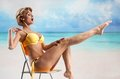 Young beautiful woman on the beach Royalty Free Stock Photography