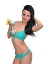 Young beautiful woman in bikini drinking margarita cocktail juic Royalty Free Stock Photo