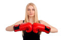 Young beautiful woman boxing gloves studio shot over white background Stock Photography