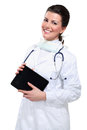 Young beautiful  woman doctor with tablet Stock Images