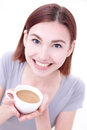 Young beautiful woman drink coffee close up portrait of a happy relax and caucasian beauty Royalty Free Stock Photos