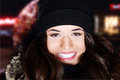 Young beautiful woman in hat and fur outdoor Royalty Free Stock Photos