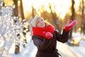 Young beautiful woman having fun in winter Royalty Free Stock Photo