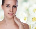 Young beautiful woman with healthy skin portrait of Royalty Free Stock Photo