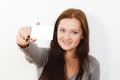 Young beautiful woman holding new credit card Royalty Free Stock Photo