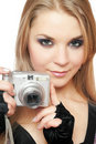 Young beautiful woman holding a photo camera Royalty Free Stock Image