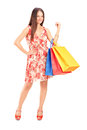 Young beautiful woman holding shopping bags Royalty Free Stock Photo